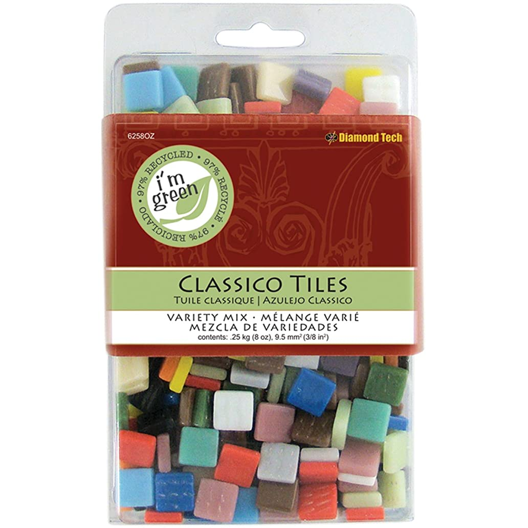 Jennifer's Mosaics 3/8-Inch Classico Mosaic Tiles Color Variety, Assorted Colors, 8-Ounce zfy4073559