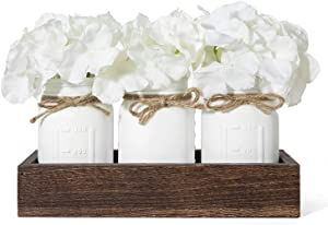Mkono Mason Jar Centerpiece Decorative Wood Tray with 3 Painted Jars Artificial Flowers Rustic Country Farmhouse Home Decor for Herb Plants Coffee Table Dining Room Living Room Kitchen,White