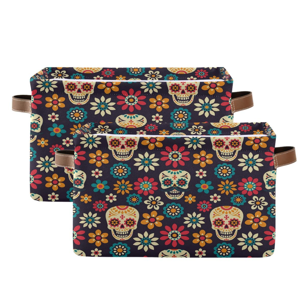 WXLIFE Storage Basket Bins Mexican Floral Sugar Skull Stor Sales Los Angeles Mall of SALE items from new works Large
