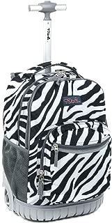 Kids Rolling Backpack 18 inch Boys and Girls Laptop Backpack, Zebra