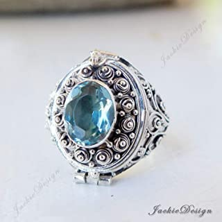 Blue Topaz Poison Ring Size 8.5 Locket Bali Sterling Silver Secret Compartment Jewelry JD142