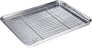 WEZVIX Stainless Steel Baking Sheet with Rack Set Tray Cookie Sheet & Oven Pan 16 x 12 x 1 inch, Non Toxic & Healthy, Rust Free & Less Stick, Thick & Sturdy, Easy Clean & Dishwasher Safe