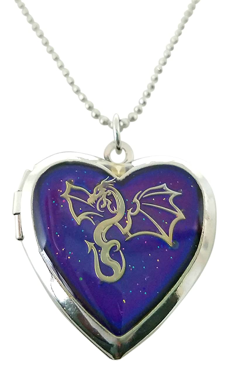 Cool Jewels? Winged Dragon on Mood Heart Shaped Locket Pendant Necklace, 16 to 18 Inches