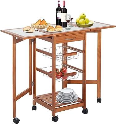 Amazon Com Homcom 37 Modern Wooden Drop Leaf Kitchen Island Rolling Cart With Basket Storage Kitchen Islands Carts