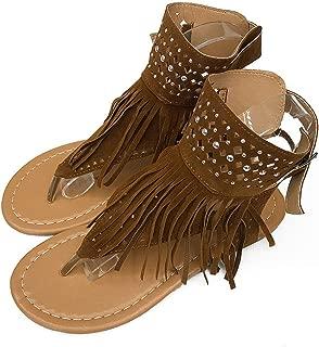 AREBULE-sandal Retro Tassel Women Gladiator Sandals Rhinestone Flats Big Size Punk Buckle