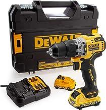 DeWalt Compact Cordless Hammer Drill, 10.8V, 10mm, 2 x 2Ah Li-Ion Batteries & Charger, with Kitbox, Yellow/Black - DCD706D...