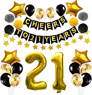 Succris 21st Birthday Decorations Balloons,21st Anniversary Party Decorations, Black Gold Cheers to 21 Years Banner, Gold Star Banner 4m, Confetti &Latex Balloons, Gold Star Balloons 18inch