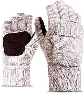 Work Thick Male Fingerless Gloves Men Women Wool Winter Warm Exposed Finger Gloves