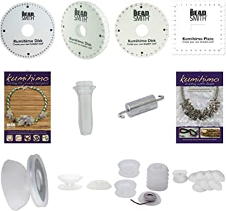 Huge Kumihimo Kit! 4 Different Foam Disks, Two 24 Page Project Books, Clear Handle, 24 assorted Bobbins & Center Weight. Great Gift! Starter Kit
