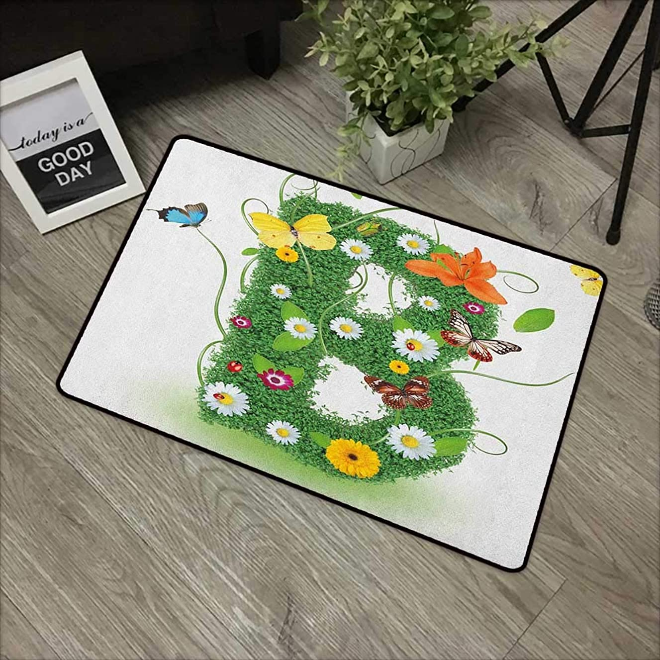 Learning pad W24 x L35 INCH Letter B,Uppercase B Sign with Flourishing Daisies Exotic Garden Plants Butterflies Fresh, Multicolor Non-Slip Door Mat Carpet