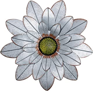 YEAHOME Metal Flower Wall Decor, 13inch Rustic Outdoor Metal Wall Art for Bedroom, Living..