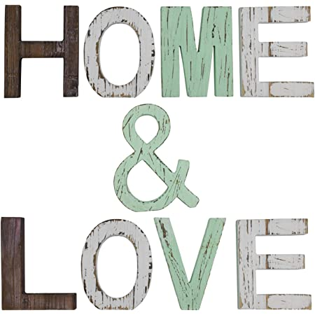 Multicolor Word Signs for Home Table Decor 6 /× 4-3//4 Inches Yesland Rustic Wood Home /& Love Signs Decorative Freestanding Wooden Letters