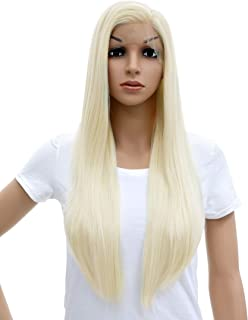 SWACC Long Straight Platinum Blonde Lace Front Wigs for Women Side Part Glueless Natural Straight Heat Resistant Synthetic Hair Replacement Wig