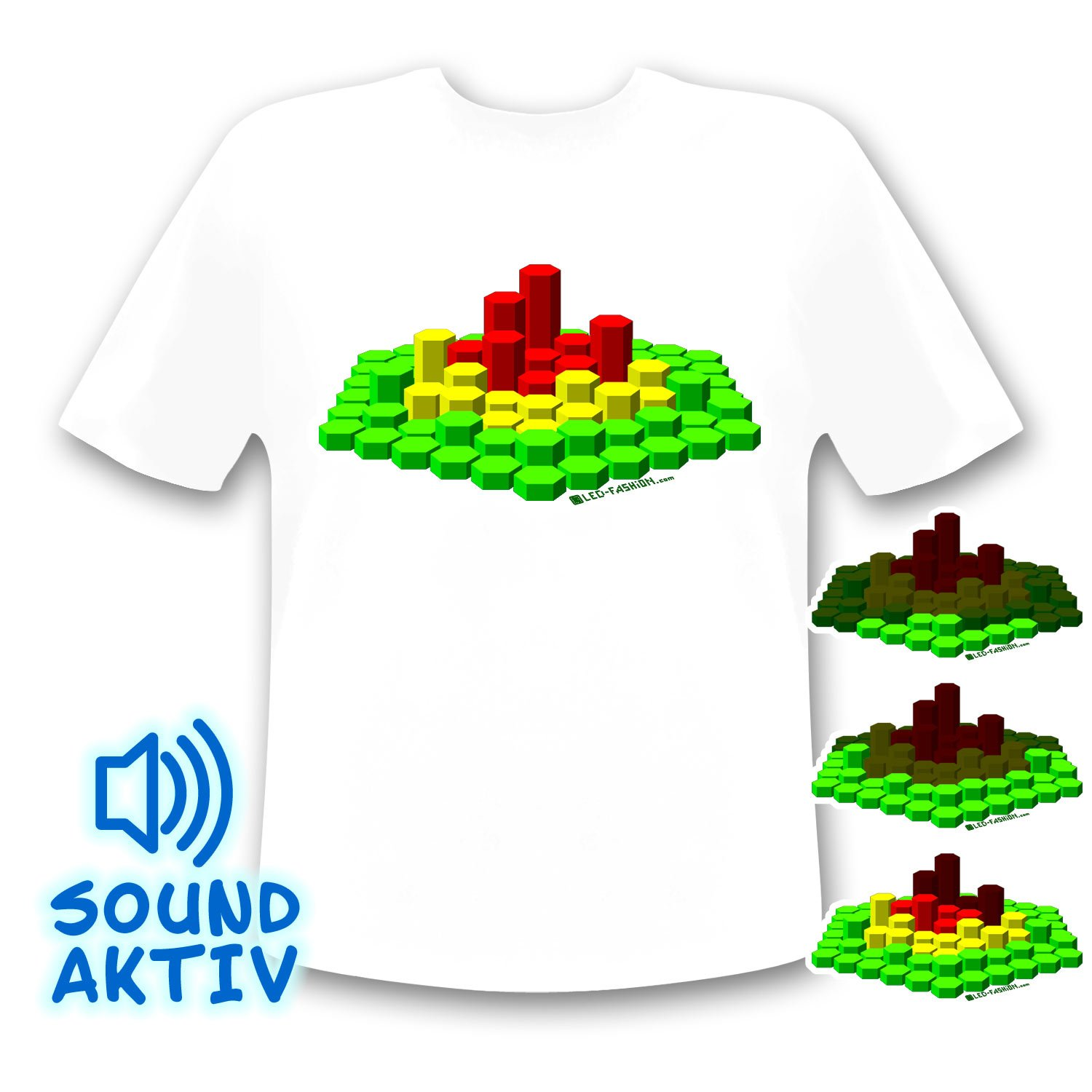 LED-Fashion - Camiseta led con ecualizador (reacciona al sonido), diseño 3D: Amazon.es: Instrumentos musicales