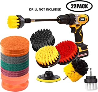 22 Pieces Drill Brush Scrub Pads 2 Attachment Set with Long Reach Attachment in Box for Bathroom Shower Scrubbing Car Clearing Home Clean