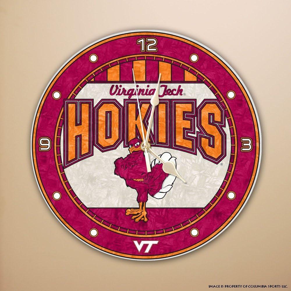 Ranking TOP2 Memory Company Virginia Tech Hokies 12in Clock Free shipping on posting reviews Art Glass