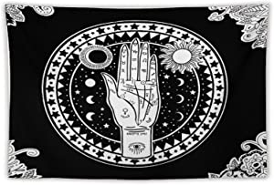 Altar Tarot Tapestry Wall Hanging, Black And White Wall Tapestry Indie Room Decor , Psychedelic Tapestry Moon Sun Mystic Tapestry Wall Hanging, for Bedroom Living Room Home Decors Teen Girl Small Dorm