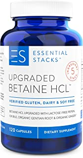 Essential Stacks Upgraded Betaine HCL with Pepsin, Ox Bile Extract, Organic Gentian Bitters & Organic Ginger - Gluten Free...