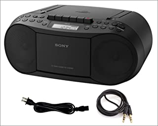 Sony CD Player Portable Boombox with AM/FM Radio & Cassette Tape Player Plus A Auxiliary Cable 3.5 to 3.5 Male to Male Cab...