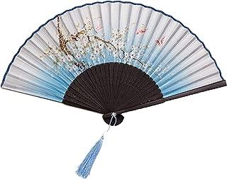 LINDA-Grocery-Store Women Summer Prints Bamboo About 21cm Multi Folding Fan,Flower