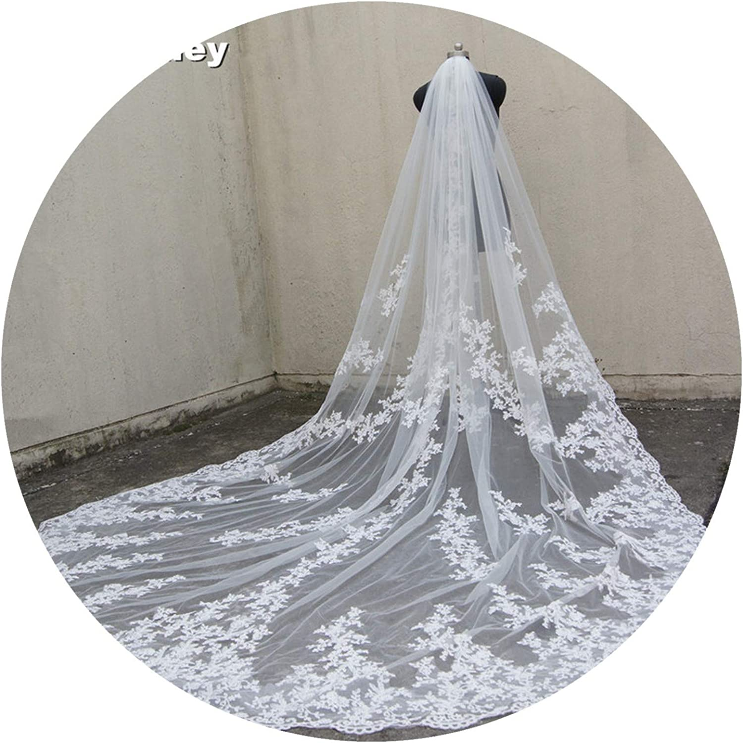 118  Long, 110  Wide 1 Layer Lace Applique Wedding Veil Cathedral Length Bridal Veil with Comb,Ivory,300cm