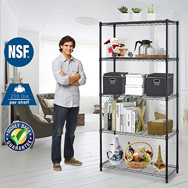 Storage Shelves Metal Wire Shelving Unit NSF Heavy Duty 5 Tier Height Adjustable Utility Steel Garage Shelving With Leveling Feet 36 L X 14 W X 72 H Commercial Grade Shelf Organizer Rack For Kitchen
