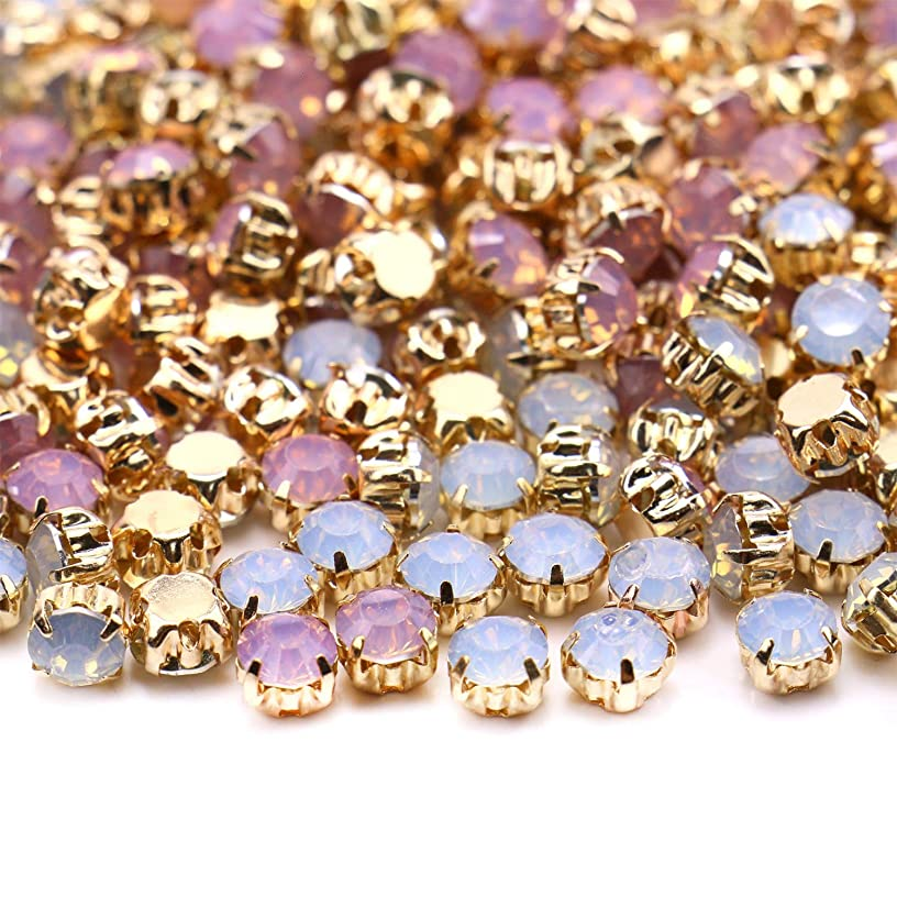 Monrocco 288pcs 5mm Opal Sew on with Gold Claw Sew On Opal Rhinestone Glass Crystal Strass Diamond Stones for Crafts