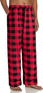 GuliriFei Men's Pyjama Bottoms Checked Long Checked Casual Trousers Plaid Loungewear with Drawstring and 2 Side Pockets Sl...