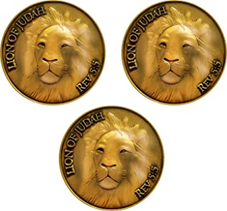 Lion of Judah Coin, Bulk Pack of 3, Man of God, Be Strong and Courageous, Antique Gold Plated, Challenge Coin, Joshua 1:11