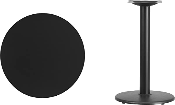 Flash Furniture 24 Round Black Laminate Table Top With 18 Round Table Height Base