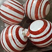 4ct Peppermint Twist Candy Cane Shatterproof Christmas Ball Ornaments 3 75mm