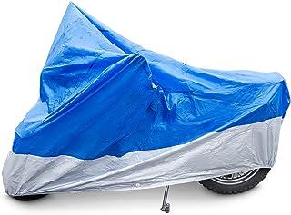 Relaxdays Motorradgarage Kunststoff, robuste Ganzgarage, mit Gummizug, UV-Schutz, H x B x T: 127x105x246 cm, Blau/Silber preisvergleich preisvergleich bei bike-lab.eu