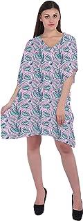 RADANYA Leaf Printed Women Loose Kaftan Swimsuit Cover Up Beach Short Casual Caftan Dress