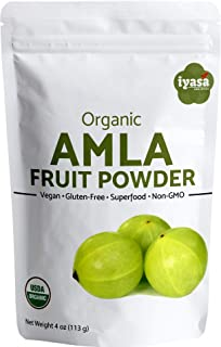Organic Amla Fruit Powder 4 Ounce,113 Gm,Amalaki Berry,Indian Gooseberry,Raw Superfood,Immunity Booster,Skin Hair Growth,USDA Approved Premium Quality,Resealable Pouch,Vegan,Non-GMO,Vitamin C