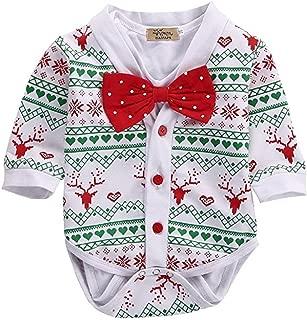 2Pcs Christmas Baby Boy Girls Deer Snowflake Coat+Bowtie White Short Sleeve Romper Playsuit Set