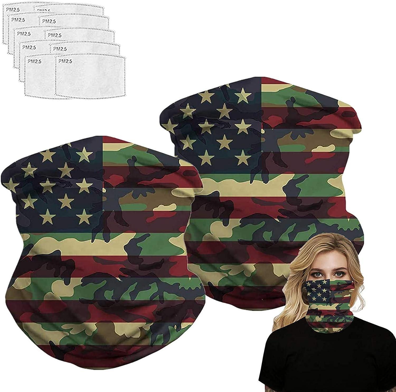 2 Pcs Scarf Bandanas Neck Gaiter with 10Pcs Filters,Multi-Purpose Face Mask for Men/Women