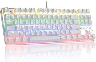 HiveNets 87 Keys Gaming Keyboard US Layout Blue Switches Anti Ghosting Mechanical Keyboard with LED Flashing Backlit (White)