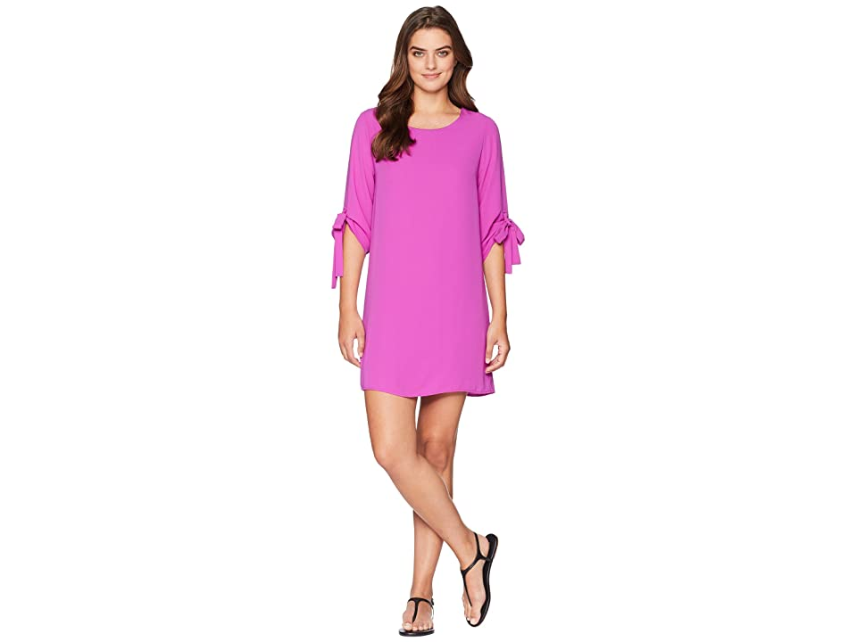 American Rose Angeline Shift Dress with Tie Detail (Magenta) Women