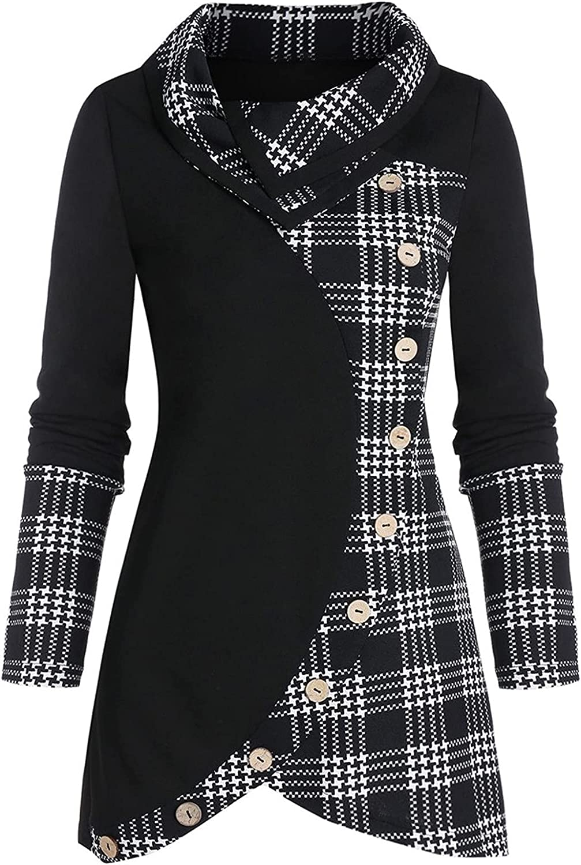 SZITOP Women's Fashion Casual Cowl Neck Long Sleeve Plaid Drawstring Skew Button Sweatshirt Tops Sweater Sweatshirt Pullover