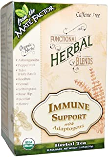 The Mate Factor Functional Herbal Blends Tea - Immune Support with Adaptogens 20/2.47 Oz (70 G) Bag(S), Green