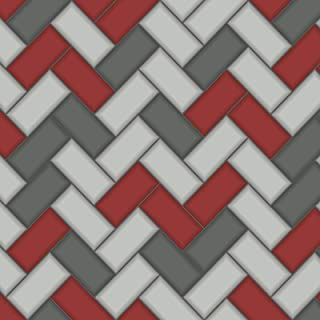 Tiling on a Roll Chevron Wallpaper - Red Holden 89303
