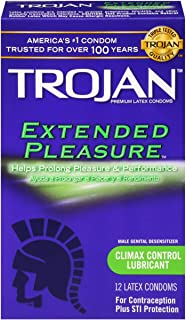 Trojan Pleasures Extended – Extend Your Pleasure With Just A Hint Of Numbing Agent 12pk