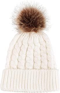 Womens Winter Hand Knit Faux Fur Pompoms Beanie Hat