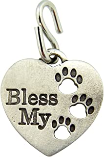Pewter Heart Shape Bless My Pet Dog Cat Collar Charm with Paw Prints, 1 Inch