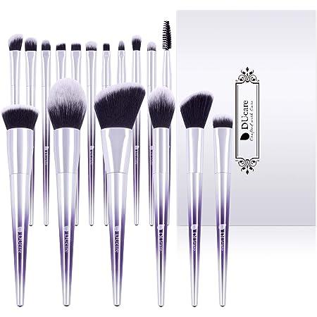 DUcare Makeup Brush Set 17Pcs Makeup Brushes Professional Synthetic Essential Face Eye Shadow Eyeliner Foundation Blush Lip Powder Liquid Cream Blending Brow Brushes Ombré Purple&Silver