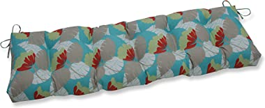 """Pillow Perfect Avia Surf Tufted Bench/Swing Cushion, 56"""" x 18"""", Blue"""