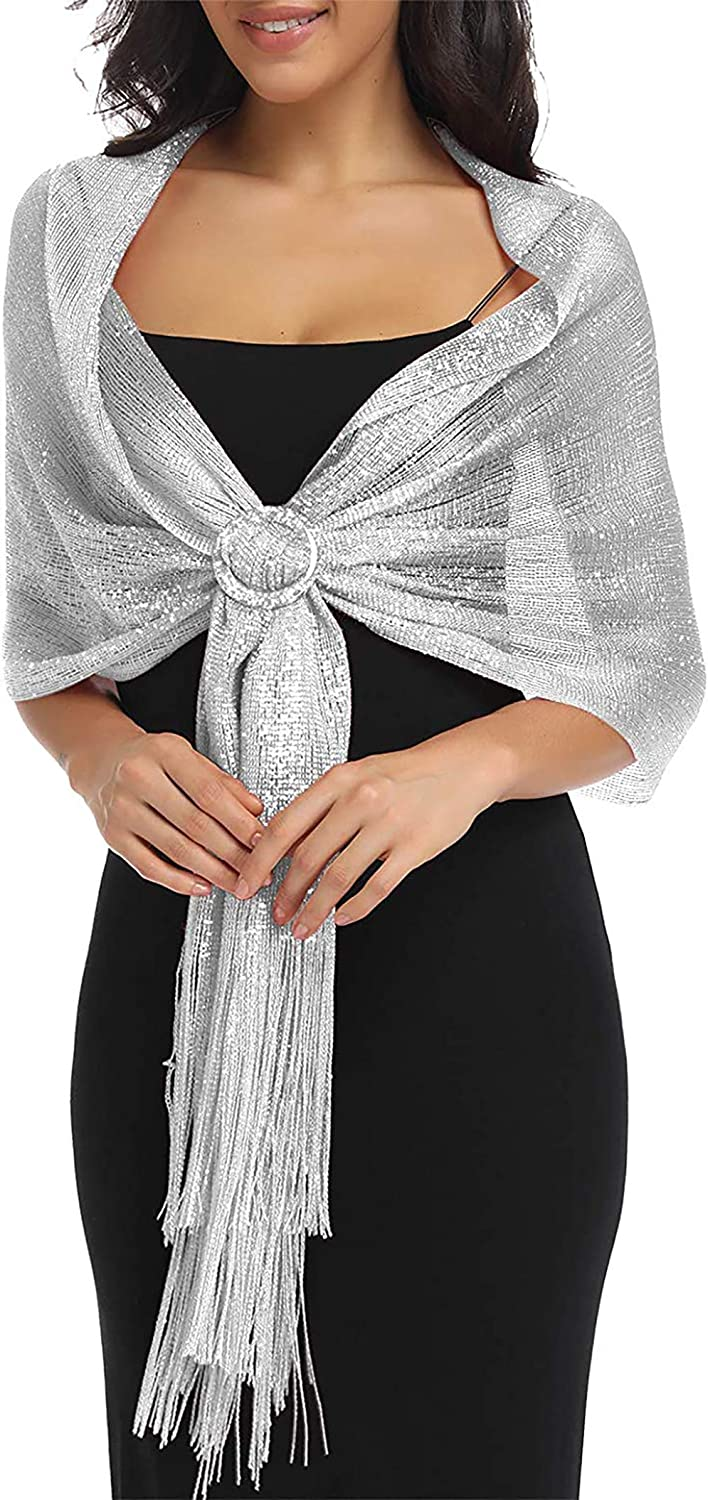 MissShorthair Womens Wedding Evening Wrap Shawl Glitter Metallic Prom Party Scarf with Fringe