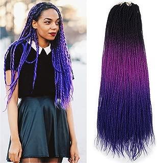 Ombre Senegalese twist 2x Kanekalon Synthetic crochet braiding hair 5 packs/lot 24inch (black purple blue)