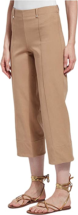 Giorgia Wide Leg Crop Pull-On Pants with Belt Loops in Stretch Twill