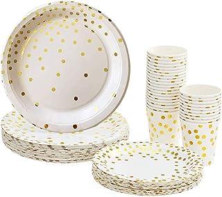 Lot Gobelets et Assiettes Jetables, 90 pièces Vaisselle Carton Jetable 30 Goblets en Papier + 30 Assiettes à Dessert + 30 ...
